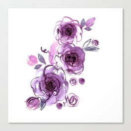watercolor hand painted purple roses Canvas Print