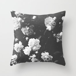 Spring Roses in Bloom Black and White Photography Throw Pillow