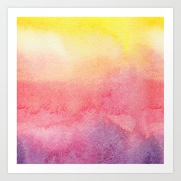 Hand painted abstract violet pink yellow watercolor paint Art Print