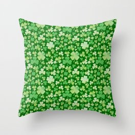 Lucky Green Watercolour Shamrock Pattern Throw Pillow