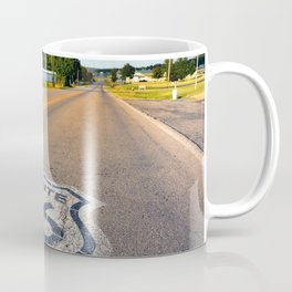 U.S. Route 66 highway, with sign on asphalt on Missouri. Coffee Mug
