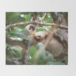Yawning Baby Sloth - Cahuita Costa Rica Throw Blanket