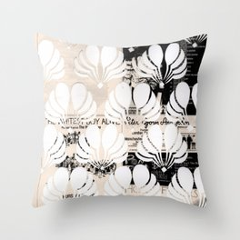 Newspaper Floral Cut Out Throw Pillow