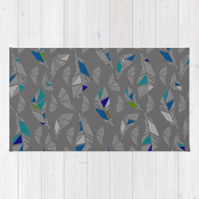Grey Feathers Rug