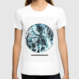 Free Like The Sea, digital collage, ocean waves, seascape, geometric nature, minimalist print, quote T-shirt