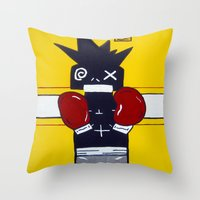 basquiat Throw Pillows featuring Boxer Basquiat by TheArtGoon