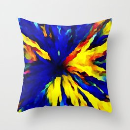 blue yellow Throw Pillow