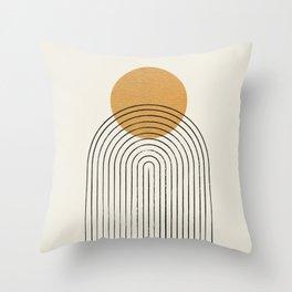 Gold Sun rainbow mountain Throw Pillow