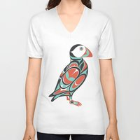 puffin V-neck T-shirts featuring Puffin by Siggi Odds