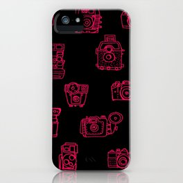 Camera: Pink - pop art illustration iPhone Case