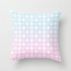 snow flakes serenity rose quartz Throw Pillow
