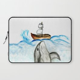 Cute whale and boat watercolor Laptop Sleeve