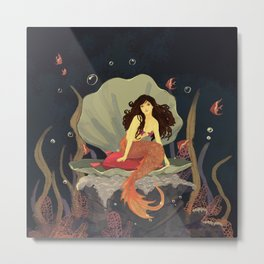 Brown Hair Mermaid Princess Metal Print