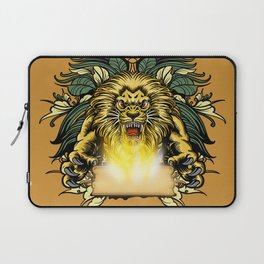 Awesome angry lion with a book Laptop Sleeve