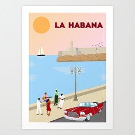 La Habana Malecon Art Print