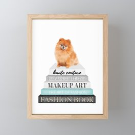 Pom, pomeranian, Books, Fashion books, Teal, Fashion, Fashion art, fashion poster Framed Mini Art Print