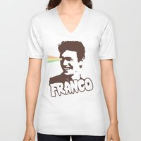 james franco V-neck T-shirts featuring Magic Franco by One Giant Eye