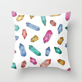 Crystals pattern - White Throw Pillow