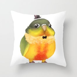 Fanciful Conure with Hat Throw Pillow