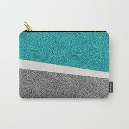 Digital Pen & Ink: Turquoise & Black Doodles Carry-All Pouch