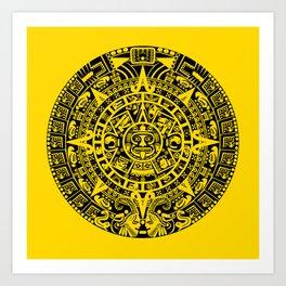 Mayan Calendar // Yellow Art Print