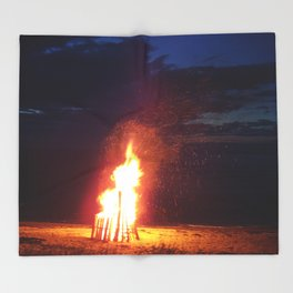 Blazing Beach Bonfire Throw Blanket
