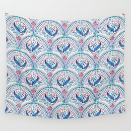 Art Deco Fresco in Cool Mediterranean Blue and Red Wall Tapestry