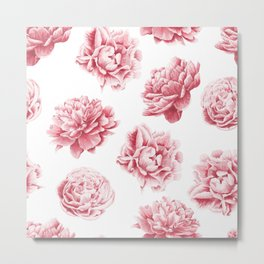 Pink Rose Garden on White Metal Print