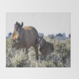 Bay Mare and Her Foal, No. 1, Palomino Butte Herd April 2020 Throw Blanket