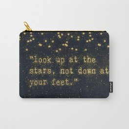 Look up at the stars,not down at your feet- gold glitter effect Typography Carry-All Pouch