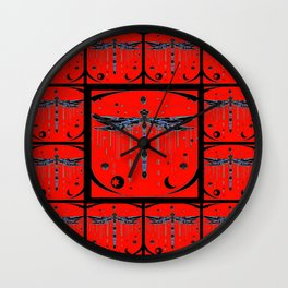 Dragonflies  Red & Black Mystical Symbols Abstract Wall Clock