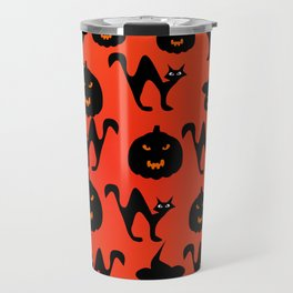 Halloween with cats and pumpkins Travel Mug