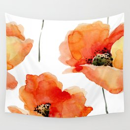 Modern hand painted orange watercolor poppies pattern Wall Tapestry