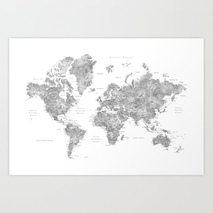 Grayscale watercolor world map with cities Kunstdrucke