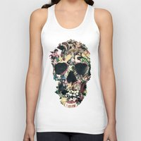 instagram Tank Tops featuring Vintage Skull by Ali GULEC