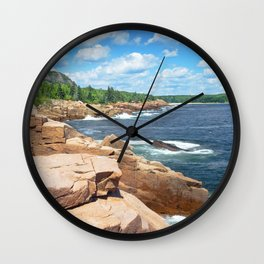 Rocky Summer Seascape Acadia National Park Photograph Wall Clock