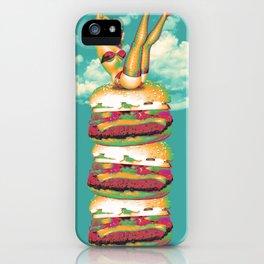 Vintage happy vegan hamburgers iPhone Case