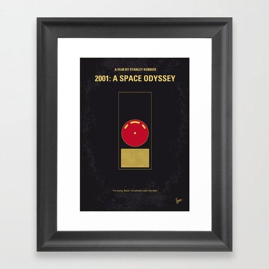No003 My 2001 A space odyssey 2000 minimal movie poster Framed Art Print