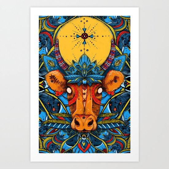 Holy Cow! Blue Lotus Mandala. Art Print