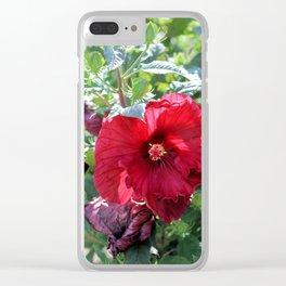 Luna Red Hibiscus Clear iPhone Case