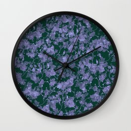 vintage style grey climbing vine leaves against dark background pattern print design Wall Clock