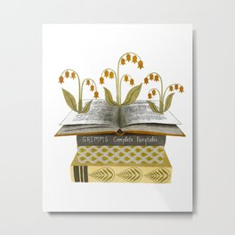 floral reading i Metal Print