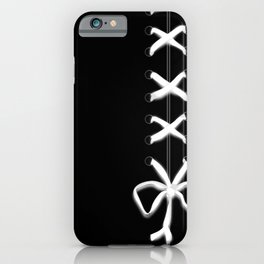 Laced White Ribbon on Black iPhone Case
