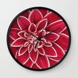 Red Dahlia close up watercolor christmas design Wall Clock