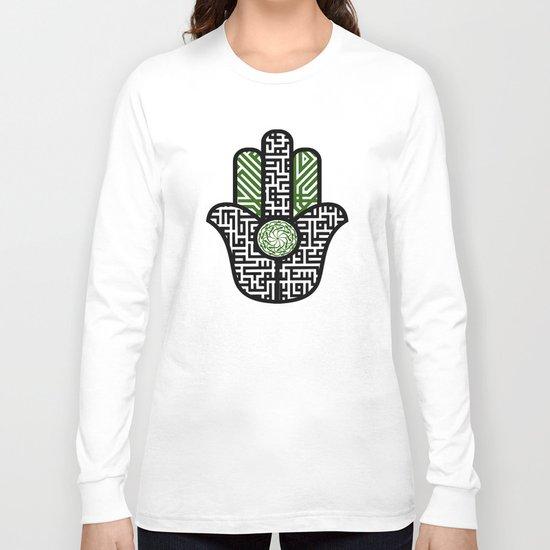 hamsa calligraphy -green Long Sleeve T-shirt