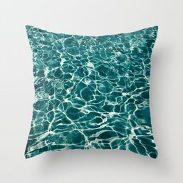 Blue Turquoise Teal Water Pattern Sunlight Reflecting Shimmering Throw Pillow