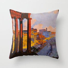Vintage Rome Italy Travel Throw Pillow