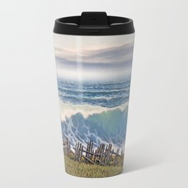 BIG WAVE OCEAN IN MOTION SEASCAPE VINTAGE OIL PAINTING Travel Mug