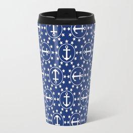 White Anchors & Stars Pattern on Navy Blue Travel Mug