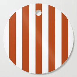 Rust brown - solid color - white vertical lines pattern Cutting Board
